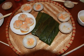 Banh Beo (small steamed rice pancakes with dried shrimp and pork scratchings) and Banh Ram it (similar but stuffed and on a crunchy little cake)