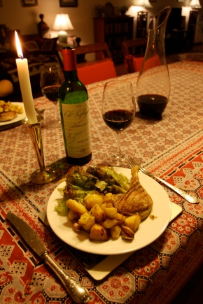 Chateau Lafleur Pomerol 1988 and roast duck legs with potatoes