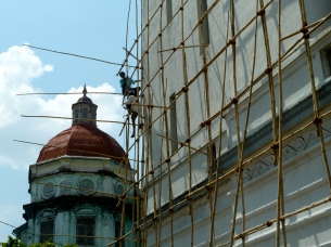 Myanma Port Authority Building undergoing restoration work