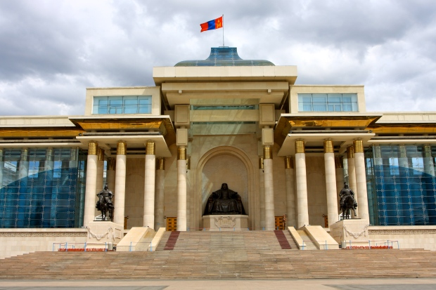 The Parliament building on Sukhbaatar Square