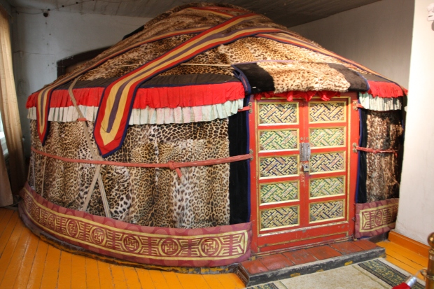 The Bogd Khan's leopard skin ger located in his Winter Palace museum along with a stunning collection of silk robes and his poorly stuffed zoo