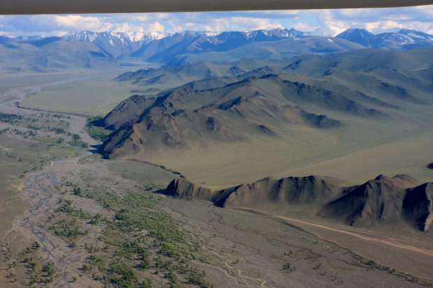 Flying towards the Altai Mountains in the far West of Mongolia