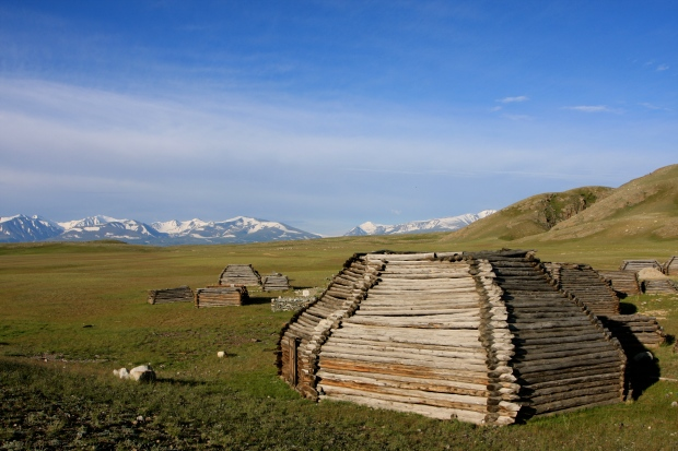 Kazakh tombs in the shape of a ger