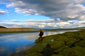 Fishing a river entering the south side of Khurgan Nuur