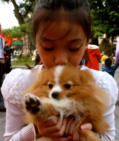 A young girl and her Pomeranian