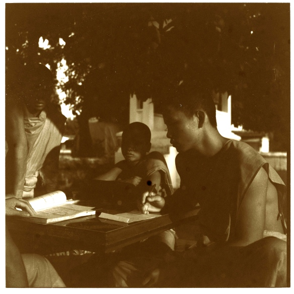 A rather underexposed picture taken with the Rolleiflex of trainee monks doing their physics homework