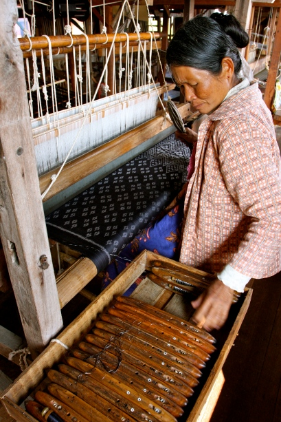 Traditional Ikat silk weaving