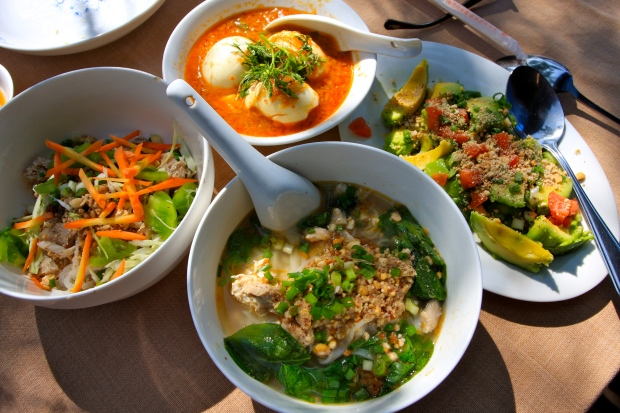 Lunch stop - shan noodle soup and salad, egg curry, and avocado salad