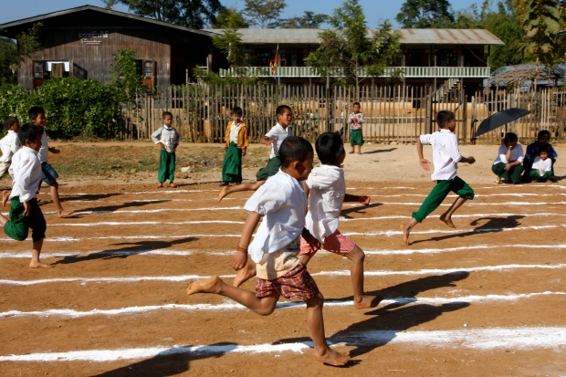 Earlier the local children were having a sports day.