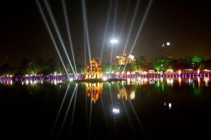 Hoan Kiem Lake all lit up